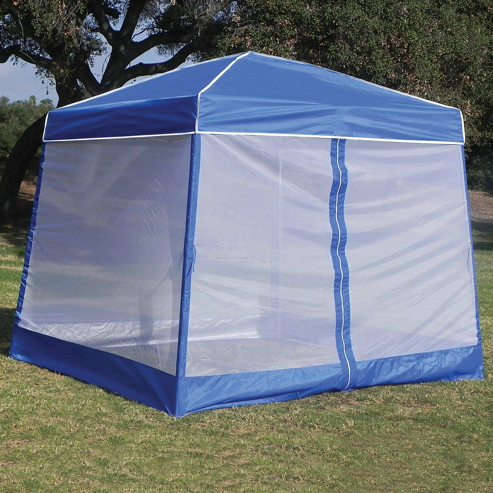 Z-Shade 10' x 10' Angled Leg Instant Canopy Tent Shelter w/ w/ Shelter Screen & Weight Bags c26834