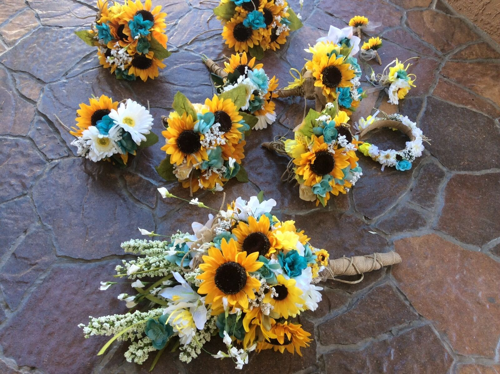 Wedding flowers bridal bouquets decorations sunflowers oasis teal turquoise 26pc