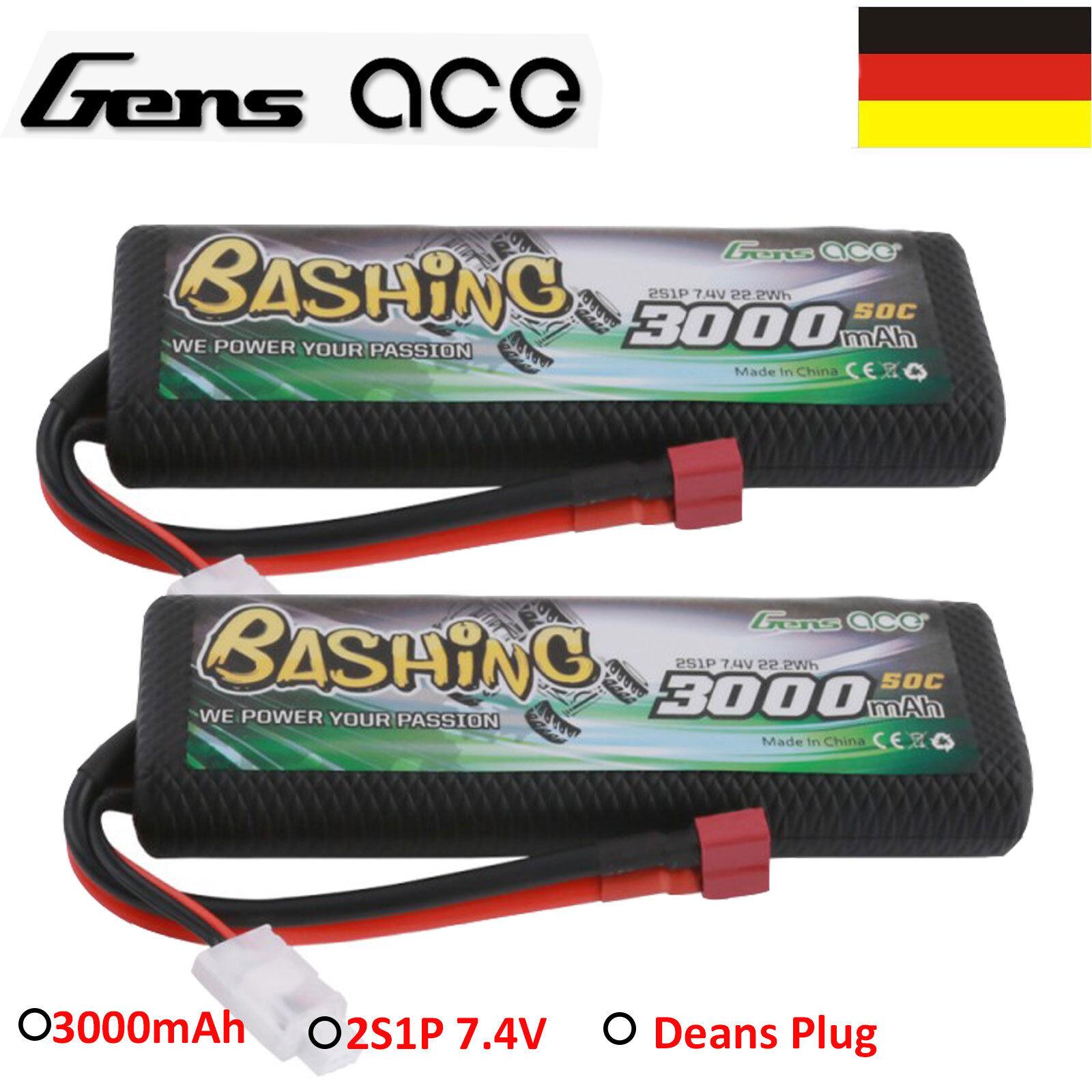 2X Pile Gens ace 3000mAh 2S 7.4V 50C Batterie LIPO Paquet T Fiche Pour Voiture
