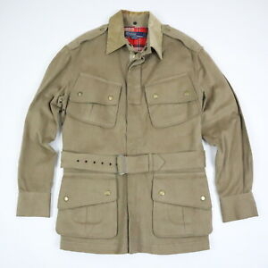 Vtg-Polo-Ralph-Lauren-Flannel-Lined-Military-Jacket-Belted-Beige-Mens-SMALL-RARE