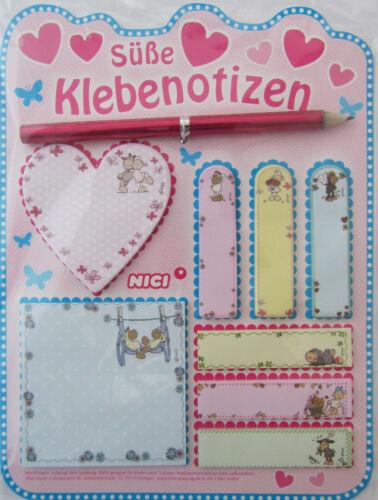 Süße Klebenotizen Nici OVP Neu Bleistift 8 Motive//Blöcke
