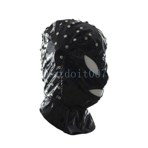 Halloween Leather Full Gimp Head Hood Open Eyes Mouth Gothic Face Mask Restraint