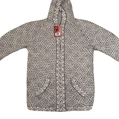 NEW Men Handmade ANDEAN ALPACA White zip Hoodie Sweatshirt Sweater Sz L