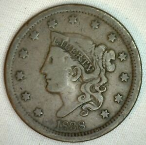 1838-Coronet-Large-Cent-US-Copper-Type-Coin-F-Fine-Newcomb-N9-Penny-R3