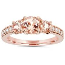1.50Ct Morganite & Natural Diamond 3 Stone Ring 14K Rose Gold Three