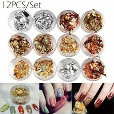 12 Pots Paillette Gel Acrylic Gold Paper UV Flake Silver Art 3D Tips Nail Foil