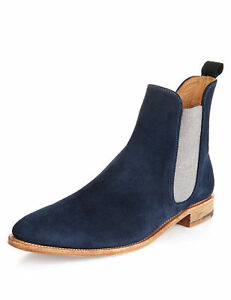 d7f8247e4 MEN NEW HANDMADE FORMAL SUEDE LEATHER BOOTS CHELSEA NAVY BLUE ANKLE ...