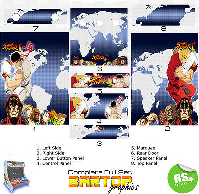 Street Fighter 2 Full Half Sets Arcade Artwork Stickers Graphics