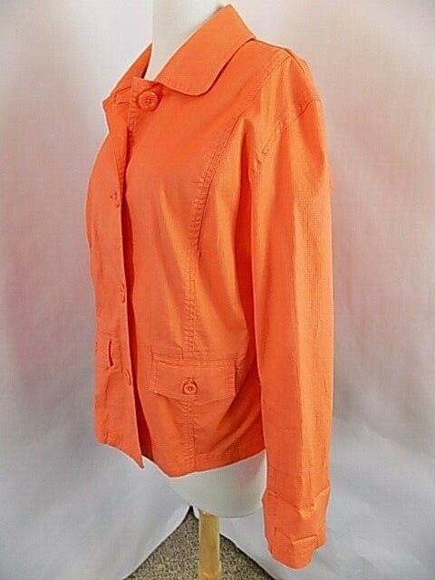 Chico's Women 4 button Front Orange Blazer Jacket Sz 3 / 16 Collar Pkts. L/S
