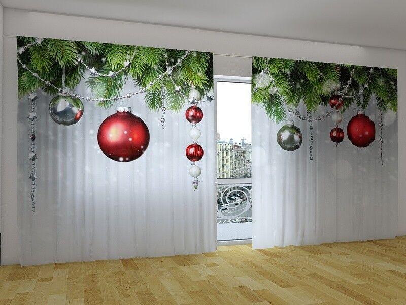 Fotogardine  Neu Jahr Weihnachten  Fotovorhang Panorama Vorhang Gardine, Auf Maß | Abgabepreis