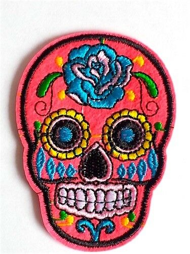 Woven IRON-ON PATCH Sew Embroidery Applique Badge Mexican DAY OF THE DEAD Skull