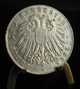Overtype 20th Mint Fünf 5 Mark Freie Und Hansestadt Lübeck Restrike