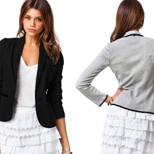 Damen Blazer Jacke Anzugjacke Sakko Business Slim Fit Jäckchen Mantel Casual