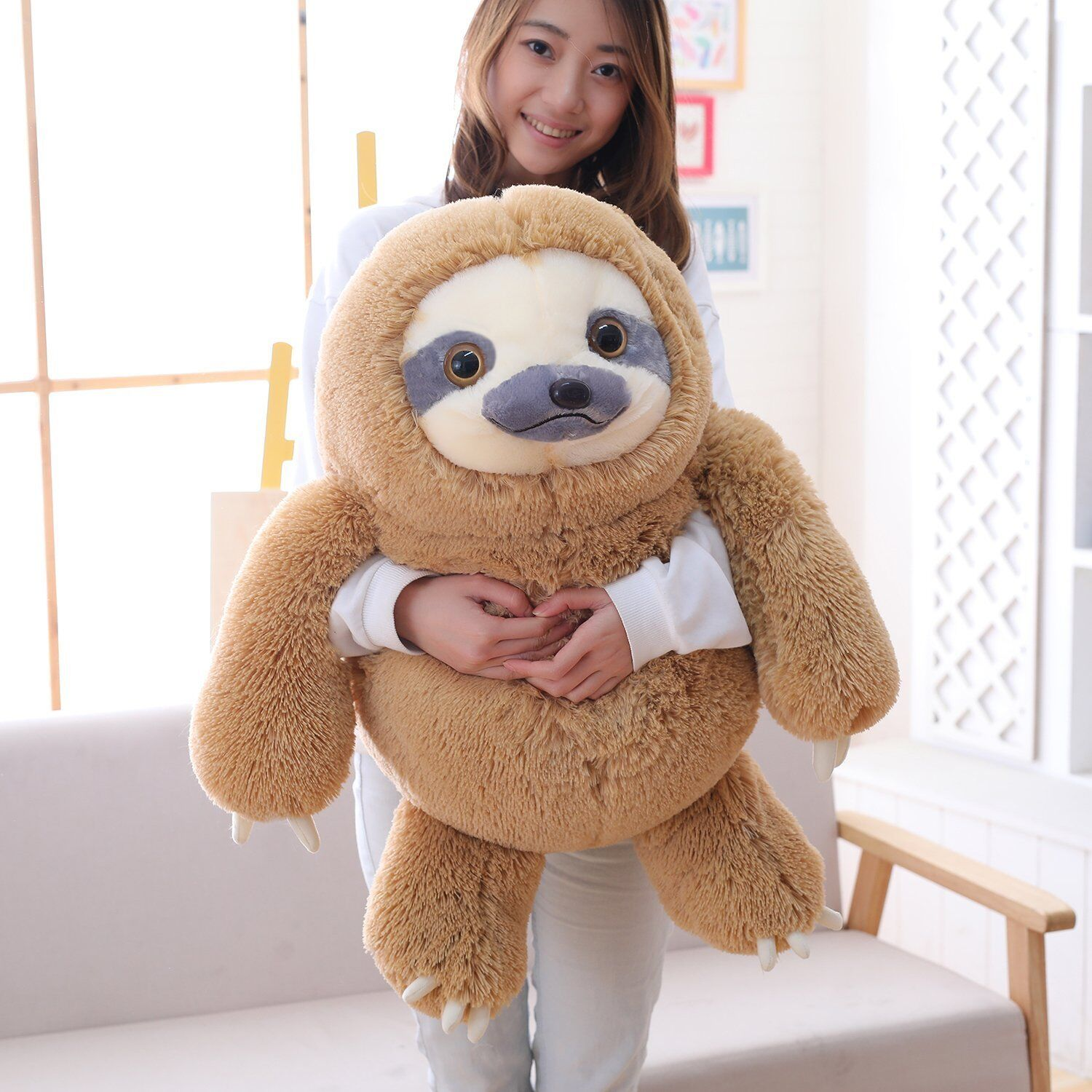 Winsterch Sloth Stuffed Animal Toy Kids Plush Sloth Gift 27.5 inches (Brown)