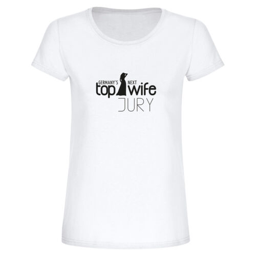 "JGA Damen Frauen T-Shirt Germany´s Next Top Wife JURY-Braut/"" Fun-Shirt Junggese"
