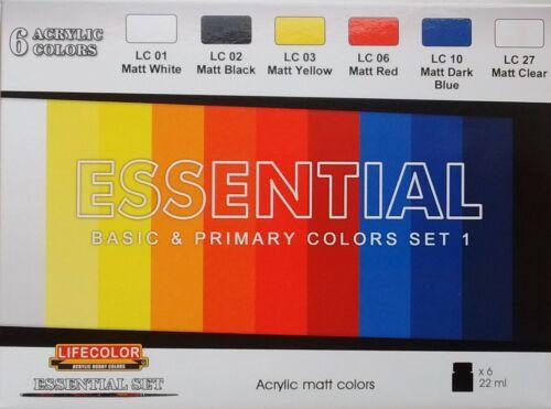 """couleurs primaires/'s paint set Lifecolor Acrylics LC-ES01 Essential Set 1 /""""Basic"""