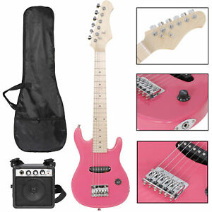 """30"""" Kids Electric Guitar With Amp Much More Guitar Combo Accessory Kit PInk"""