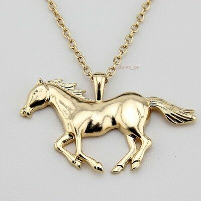 "Fashion Gold Tone Jewelry Running Horse Pendant 27""Necklace EA62 A+++"