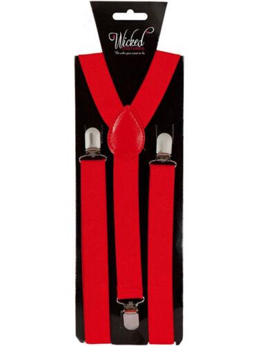 Elastic Red Braces Mens Ladies 2.5cm Wide Slim Fancy Dress Suspenders