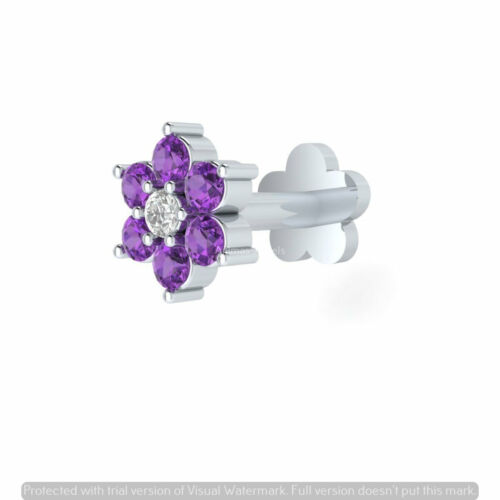 Details about  /Real Diamond with Purple Amethyst 14k Gold Nose Lip Labret Piercing Screw Pin