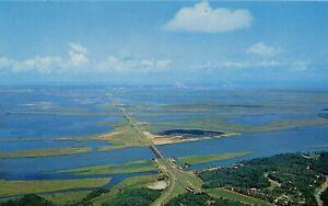 Mobile-Bay-Causeway-Spanish-Fort-AL-Alabama-aerial-view-chrome-postcard