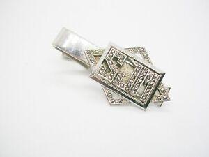 Vintage-Initial-Tie-Clip-Letters-SJM-Sterling-Silver-Marcasite-Stones