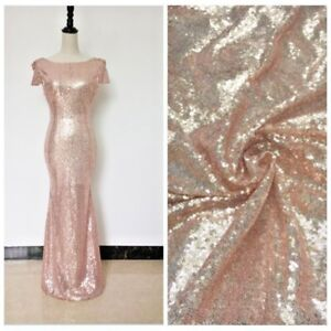 Image Is Loading Rose Gold Sequin Fabric Lace Mesh Shiny Dress