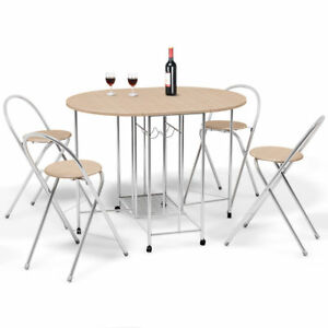 Awesome Details About 5 Pcs Steel Wood Folding Dining Room Table 4 Chairs Set Stool Kitchen Furniture Machost Co Dining Chair Design Ideas Machostcouk