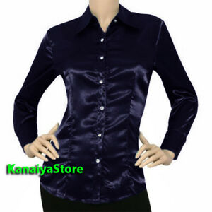 d32a4741d08376 Image is loading Navy-Blue-Satin-Vintage-Button-Down-Solid-Collar-