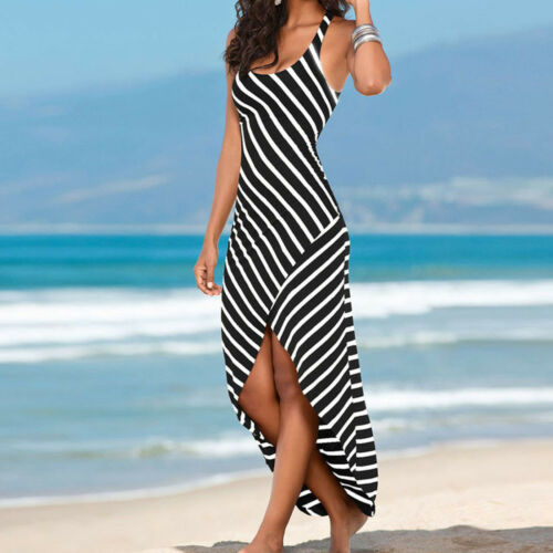 Boho Womens Spaghetti Strap Loose Summer Party Cocktail Stripesd Long Maxi Dress