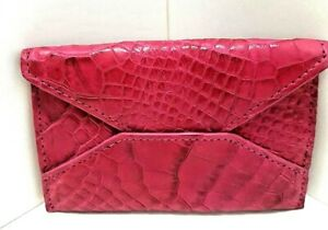c809ce2335e Details about GENUINE CROCODILE SKIN WOMENS CARD HOLDER WALLET PINK  SUPERIOR QUALITY CITES