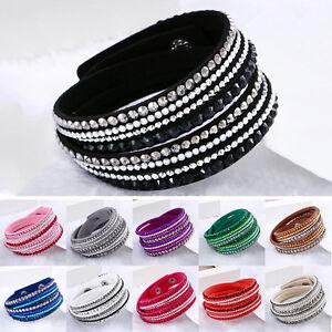 Fashion-Leather-Wrap-Wristband-Cuff-Punk-Crystal-Rhinestone-Bracelet-BangleWTUS