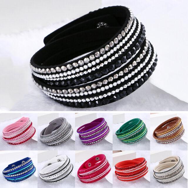 Fashion Leather Wrap Wristband Cuff Punk Crystal Rhinestone Bracelet Bangle HO