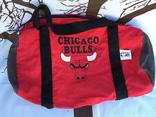 ��Vtg 1990 Chicago Bulls Red Small Duffle Bag NBA Gym Workout Travel USA Jordan