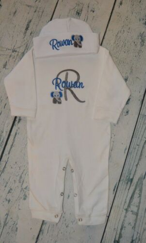 Personalized Elephant Monogrammed Sleeper Romper and Hat Set size 0-3 Month