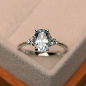 14K-Solid-White-Gold-Aquamarine-2-15-Ct-Genuine-Diamond-Wedding-Ring-Size-6-7