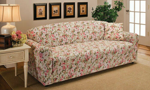 """JERSEY SOFA /""""STRETCH/"""" COUCH SLIPCOVER-LAZY BOY--PINK FLORAL-VISIT OUR  STORE"""