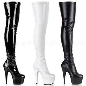 Adore 3000 Pleaser High Heels Stretchlack und Lederoptik Overkneestiefel 36 43
