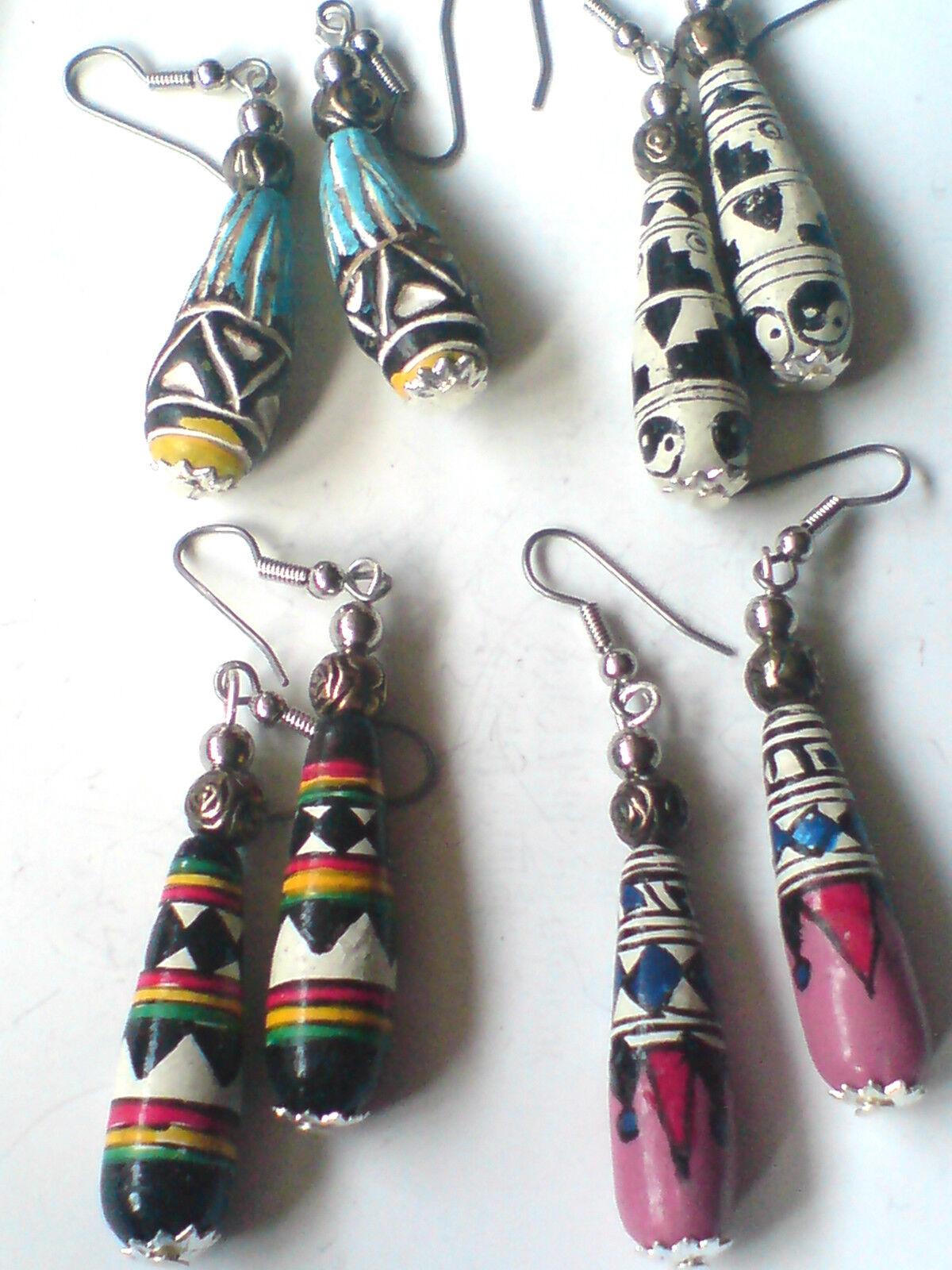 Llamativa pendientes de peruano pintado a mano en 4 Diseños sólo 4.99 cada uno nuevo con etiquetas