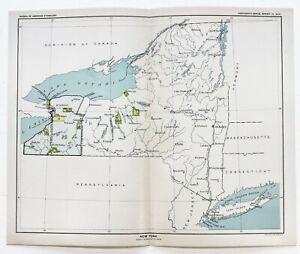 1899 New York Map Buffalo Long Island Native American Ceded