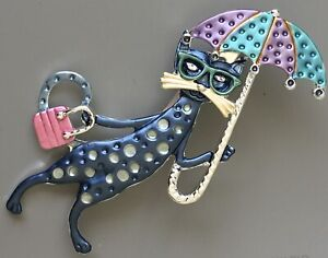 Adorable-Cat-with-umbrella-and-fish-large-Pin-Brooch-in-enamel-on-Metal
