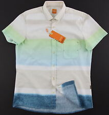 Men's HUGO BOSS ORANGE Short Sleeve S/S Tonal Colors Shirt Large L NWT NEW