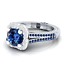 Magnifique Argent 925 Bijoux Round Cut saphir bleu femmes bague de mariage Taille 6-10