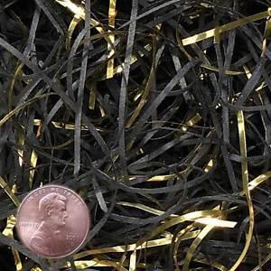 Black & Metallic Gold VERYFINE Fine Cut Gift Basket Shred Paper Filler Bedding