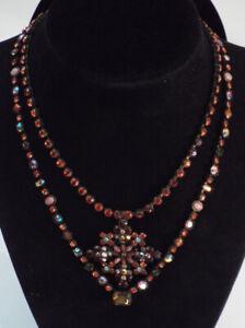 Sorrelli-CRYSTAL-2-Necklaces-Set-Pendant-RED-PINK-Coral-Shimmering-Antique-Tone