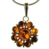 Baltic Amber Sterling Silver 925 Flower Leaf Pendant Jewellery Jewelry Gift
