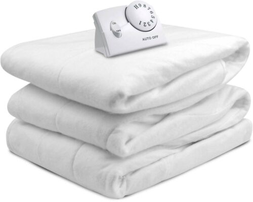 Heated Mattress Pad Warm Cozy Bedding Heater Cushion Cover Full Size Bed White