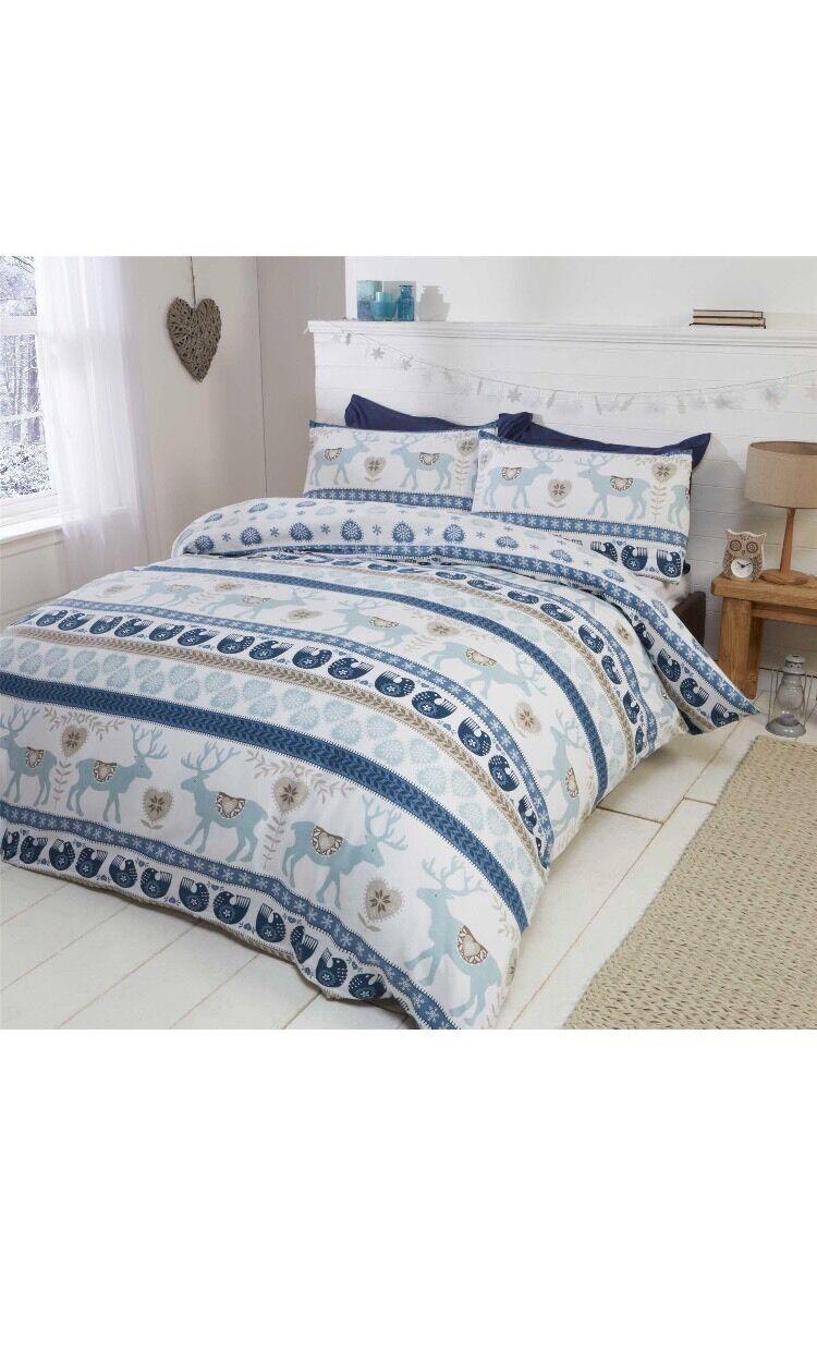 Scandi 100% Brush Cotton Flannelette Duvet Set King Cheapest On Ebay bluee