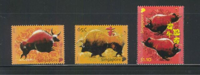 SINGAPORE 2009 ZODIAC YEAR OF OX COMP. SET OF 3 STAMPS MINT MNH UNUSED CONDITION