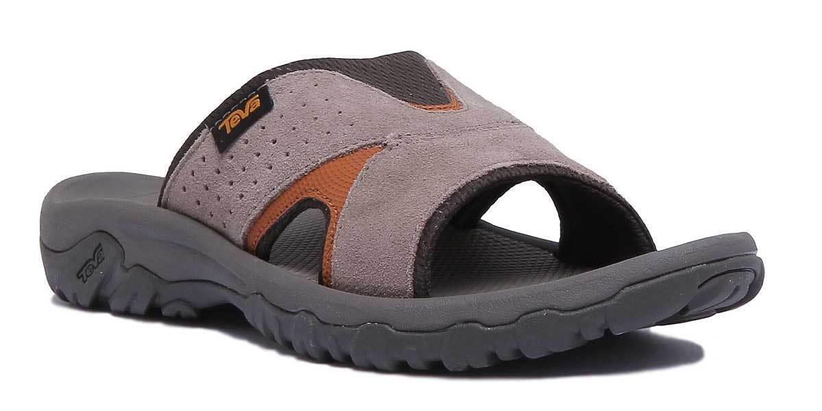 Teva Katavi 2 deslice Diapositiva Sandalias De Nogal Gamuza Para Hombre Reino Unido
